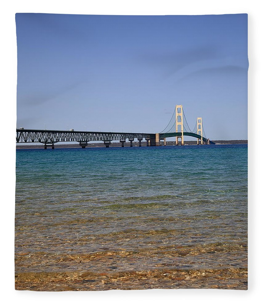 America Fleece Blanket featuring the photograph Mackinac Bridge by Frank Romeo