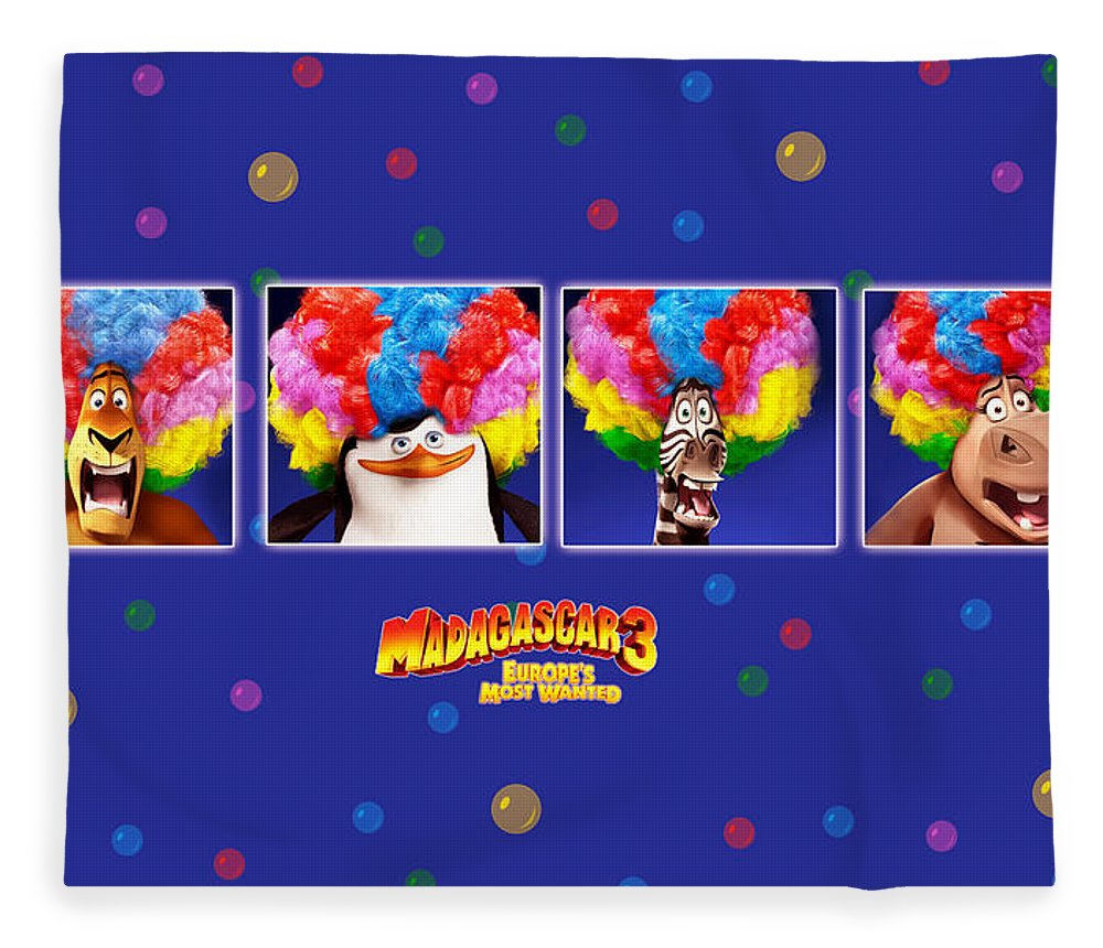 Madagascar 3 Europe's Most Wanted Fleece Blanket featuring the digital art Madagascar 3 Europe's Most Wanted by Maye Loeser