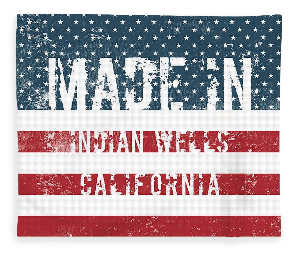 Indian Wells Fleece Blanket featuring the digital art Made In Indian Wells, California by Tinto Designs