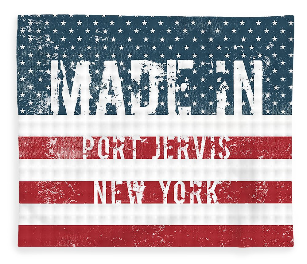 Port Jervis Fleece Blanket featuring the digital art Made In Port Jervis, New York by Tinto Designs