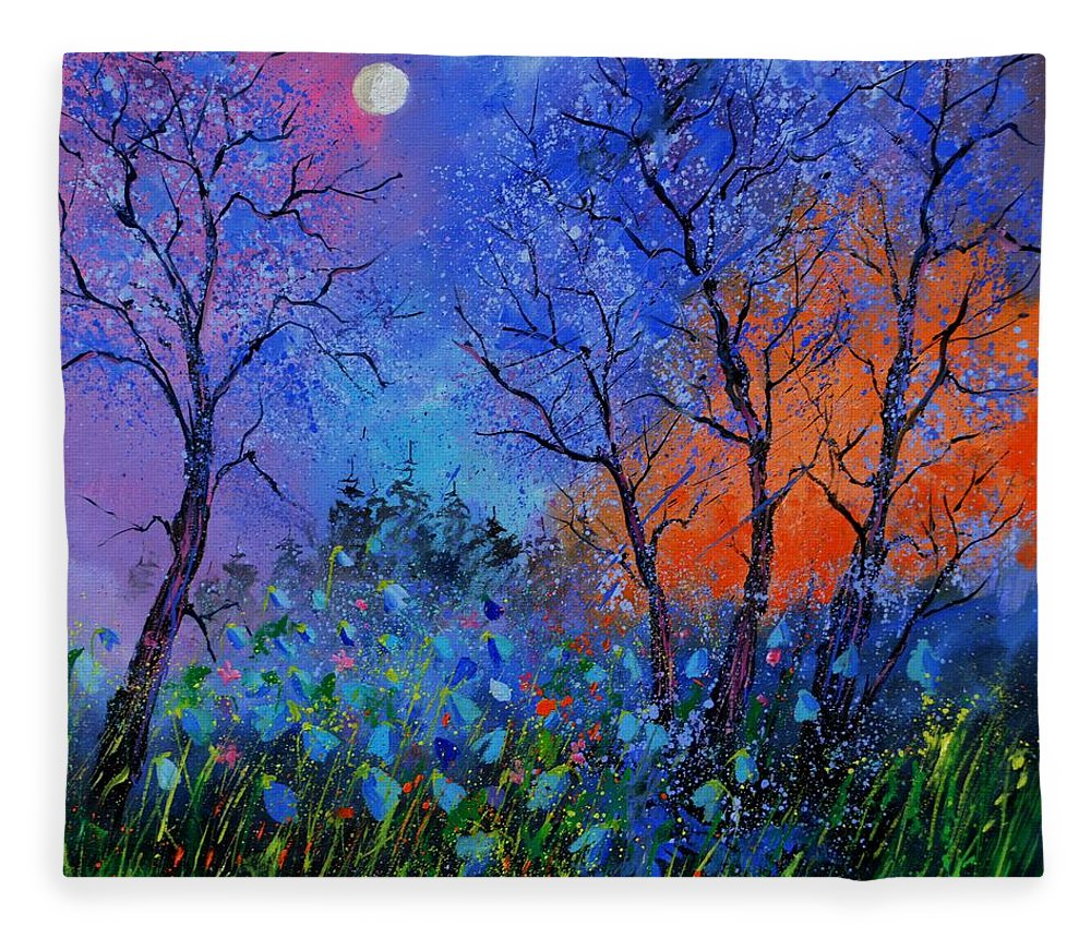 Landscape Fleece Blanket featuring the painting Magic wood by Pol Ledent