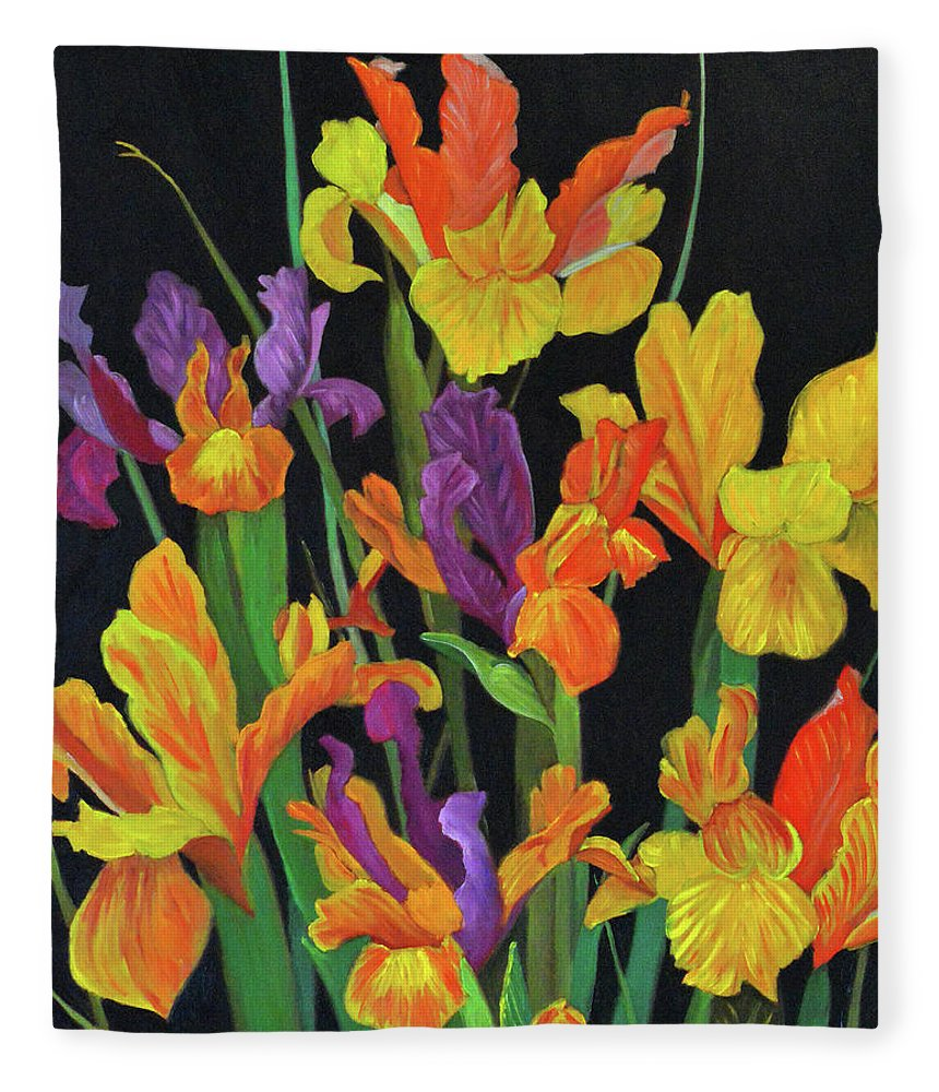 Colorful Flowers Fleece Blanket featuring the painting Midnight In The Garden 1 by Thu Nguyen