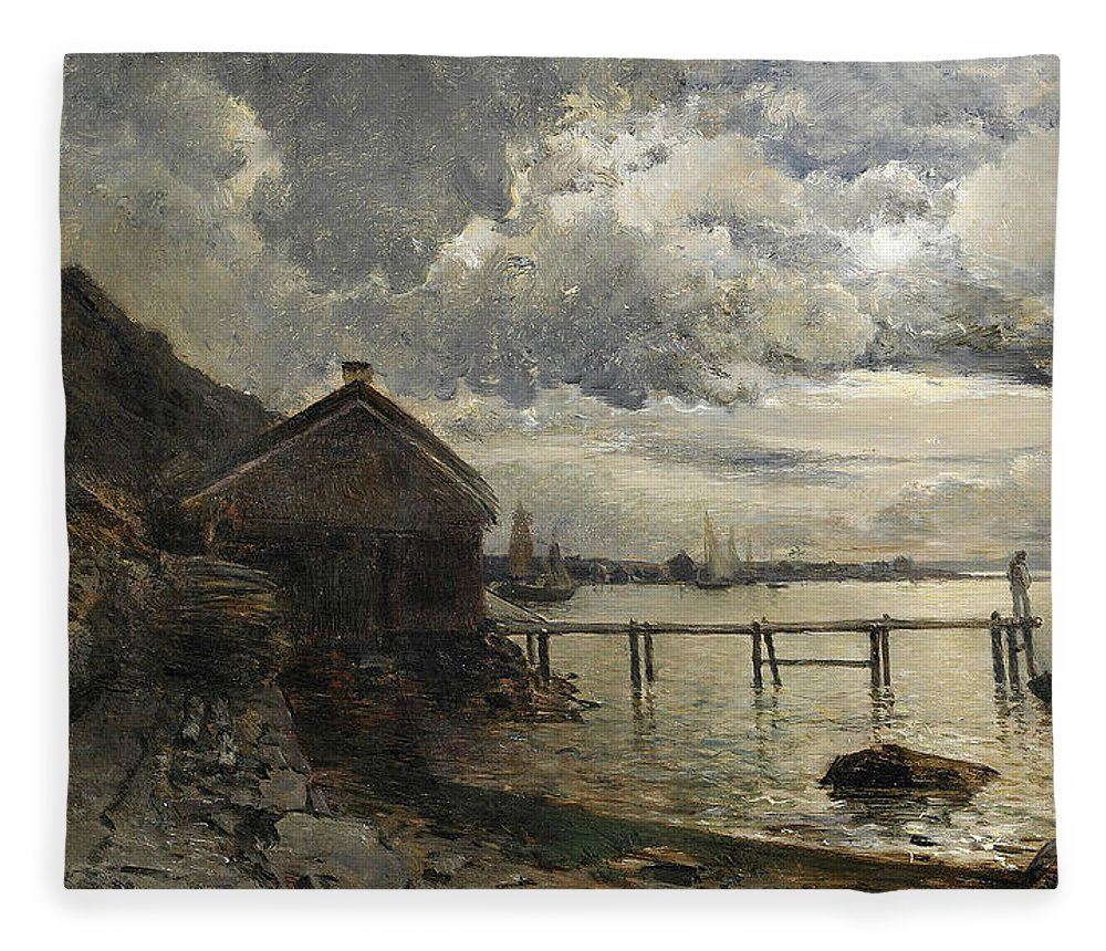 Swedish Art Fleece Blanket featuring the painting Moonlight, Fjallbacka by Alfred Wahlberg