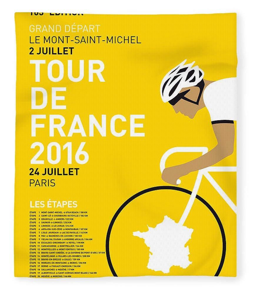 2016 Fleece Blanket featuring the digital art My Tour De France Minimal Poster 2016 by Chungkong Art