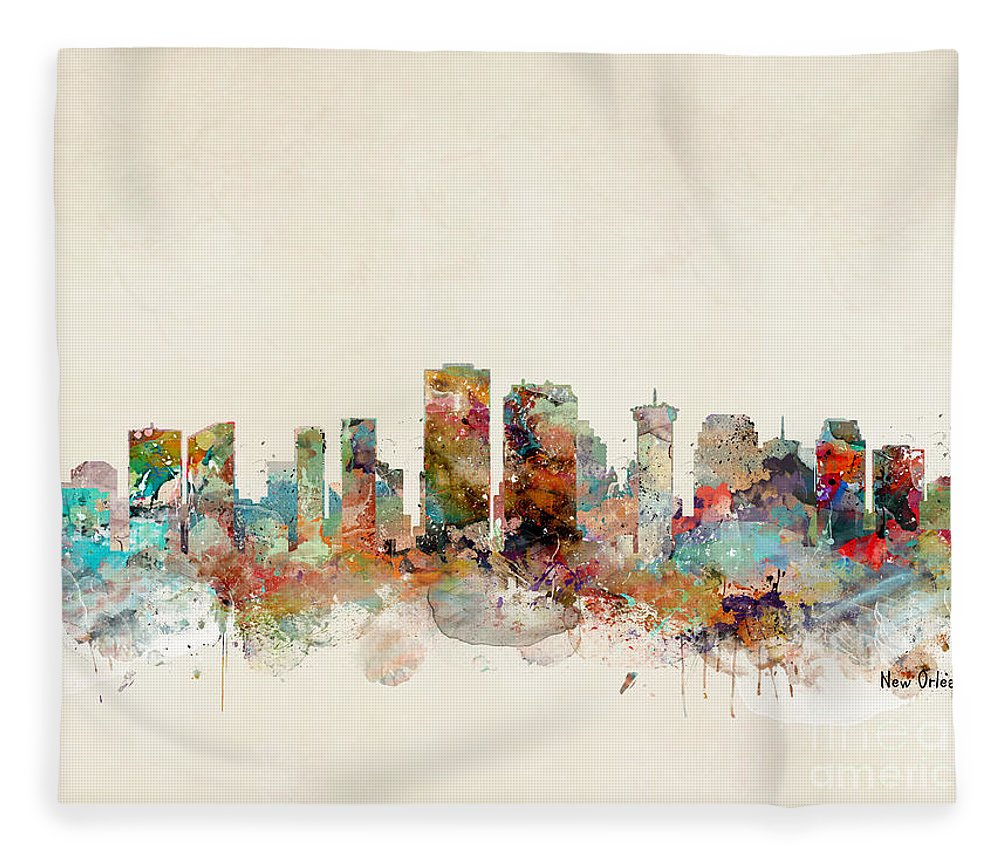 New Orleans Fleece Blanket featuring the painting New Orleans Louisiana by Bri Buckley