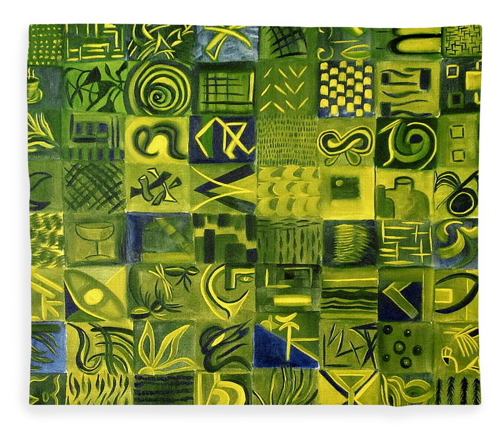 Green Fleece Blanket featuring the painting Night On The Lawn by Patricia Cleasby