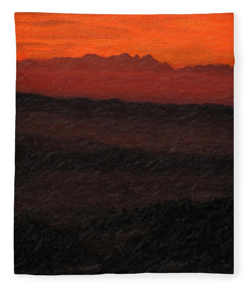�not Quite Rothko� Collection By Serge Averbukh Fleece Blanket featuring the photograph Not quite Rothko - Blood Red Skies by Serge Averbukh