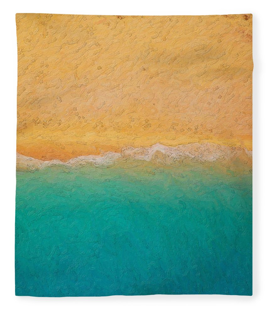 �not Quite Rothko� Collection By Serge Averbukh Fleece Blanket featuring the photograph Not quite Rothko - Surf and Sand by Serge Averbukh