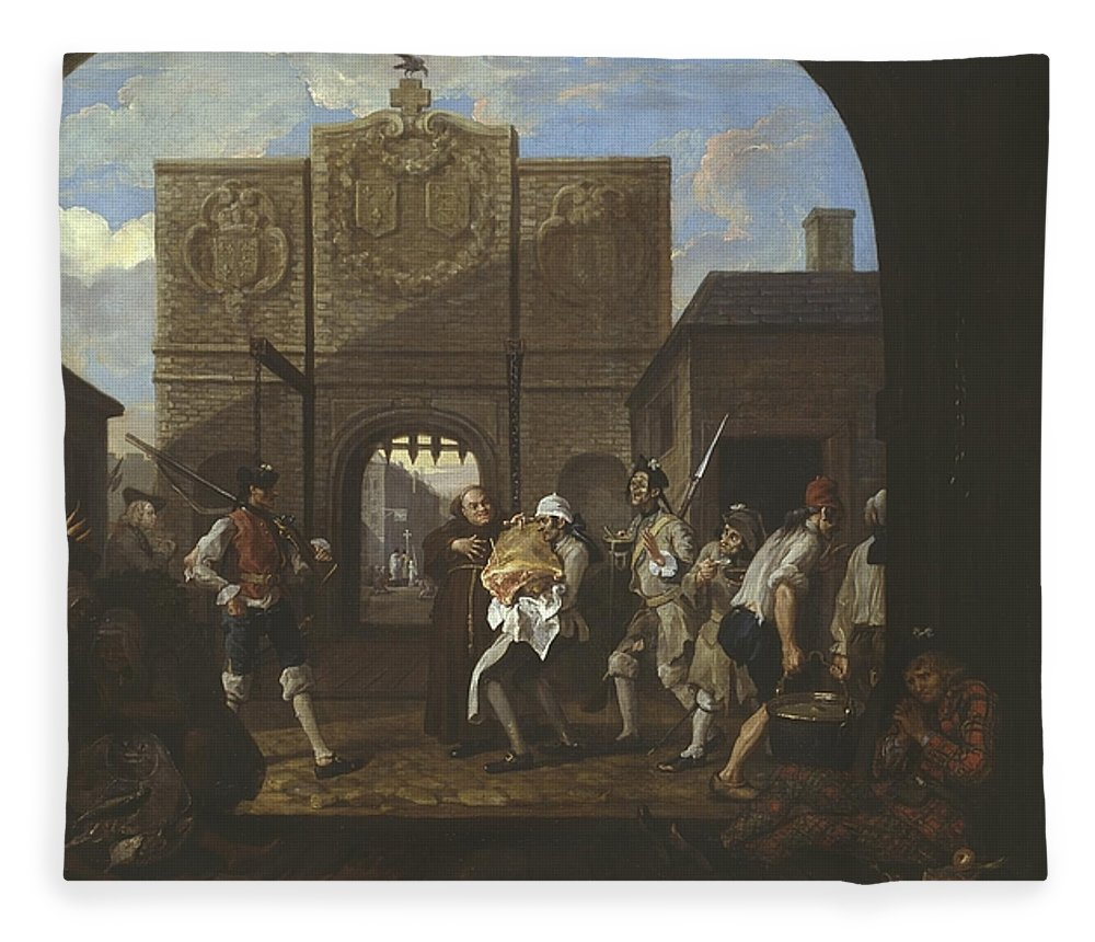 William Hogarth Fleece Blanket featuring the painting O The Roast Beef Of Old England 2 by MotionAge Designs