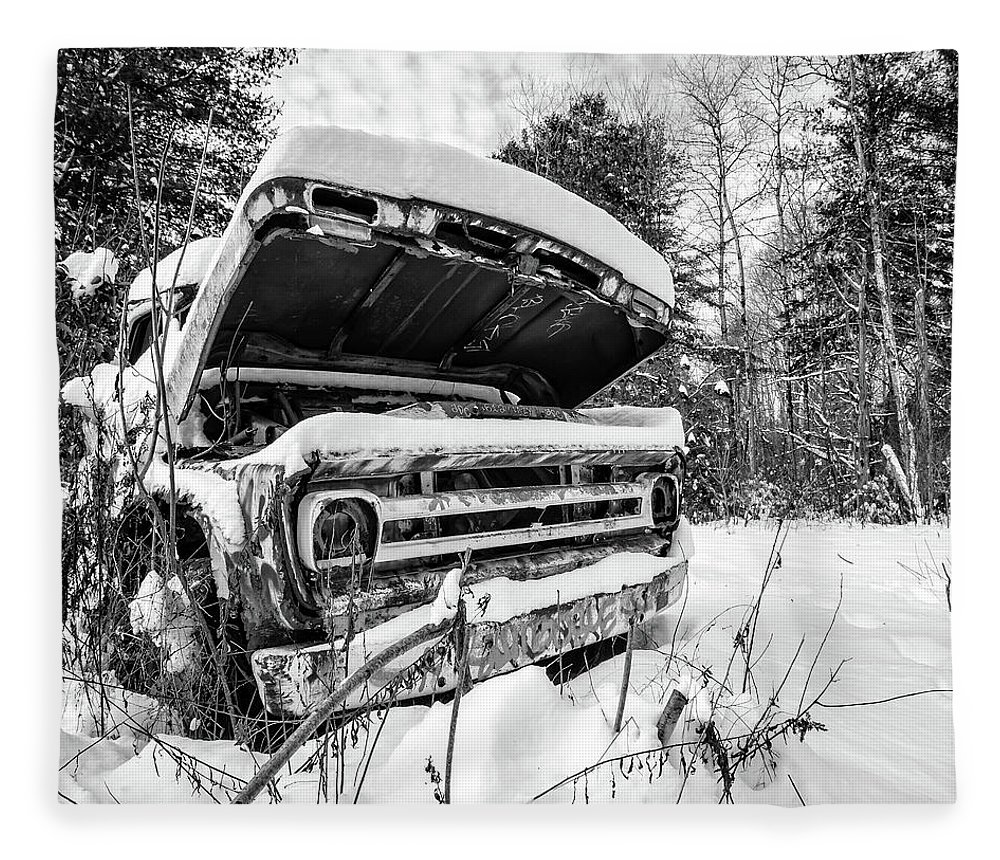 Newport Fleece Blanket featuring the photograph Old Abandoned Pickup Truck In The Snow by Edward Fielding