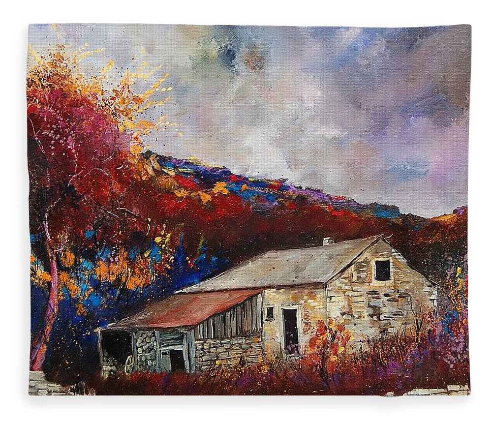 Village Fleece Blanket featuring the painting Old barn by Pol Ledent