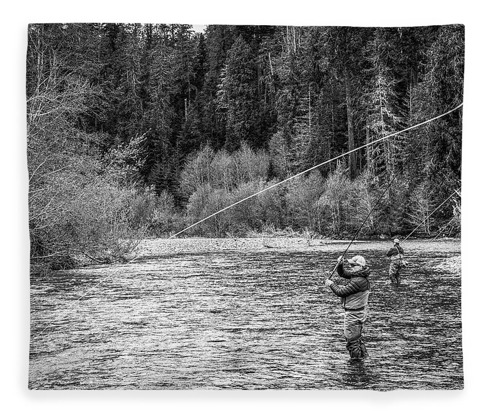 Flyfishing Fleece Blanket featuring the photograph On the River by Jason Brooks