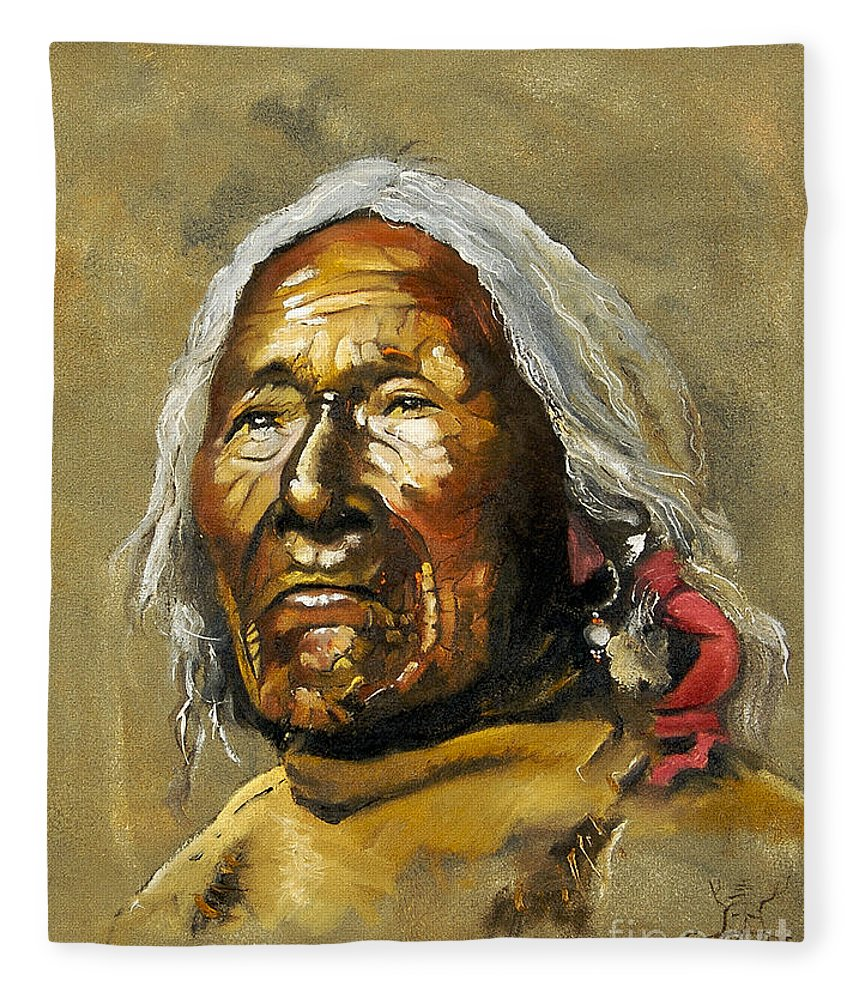 Southwest Art Fleece Blanket featuring the painting Painted sands of time by J W Baker