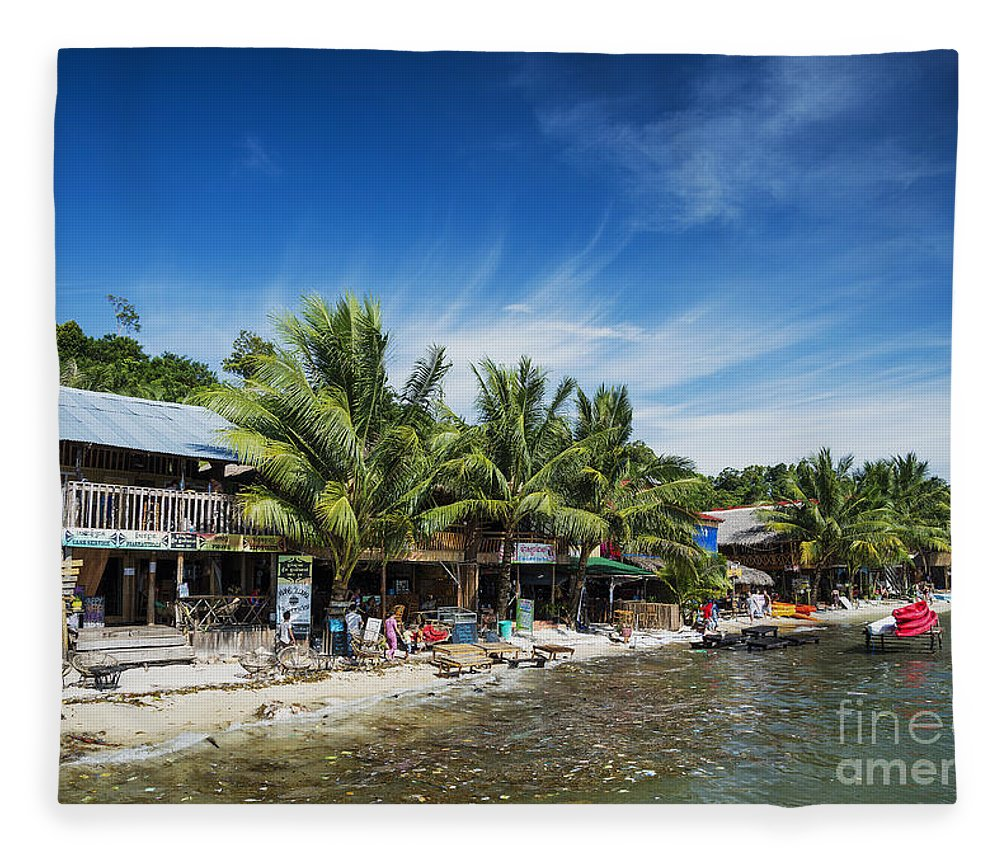 Asia Fleece Blanket featuring the photograph Polluted Dirty Beach With Garbage Rubbish In Koh Rong Island Cam by Jacek Malipan
