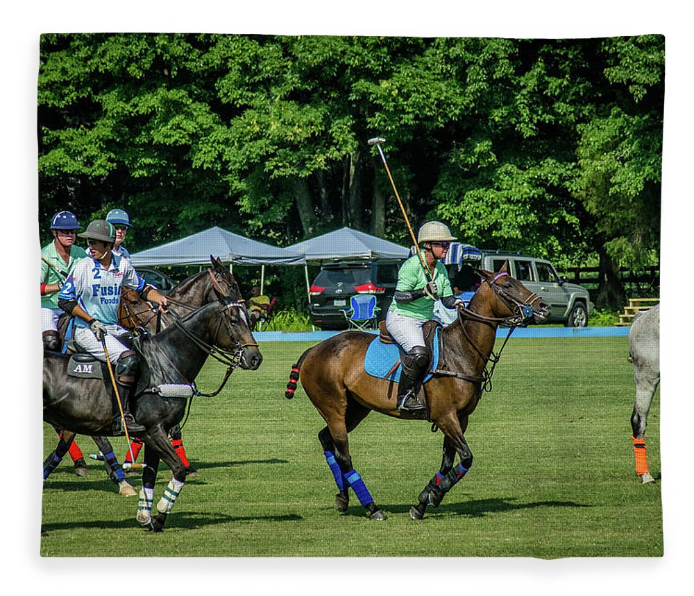 Banbury Cross Fleece Blanket featuring the photograph Polo Group 1 by Sarah M Taylor