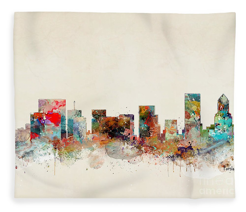Portland Oregon Fleece Blanket featuring the painting Portland Oregon Skyline by Bri Buckley