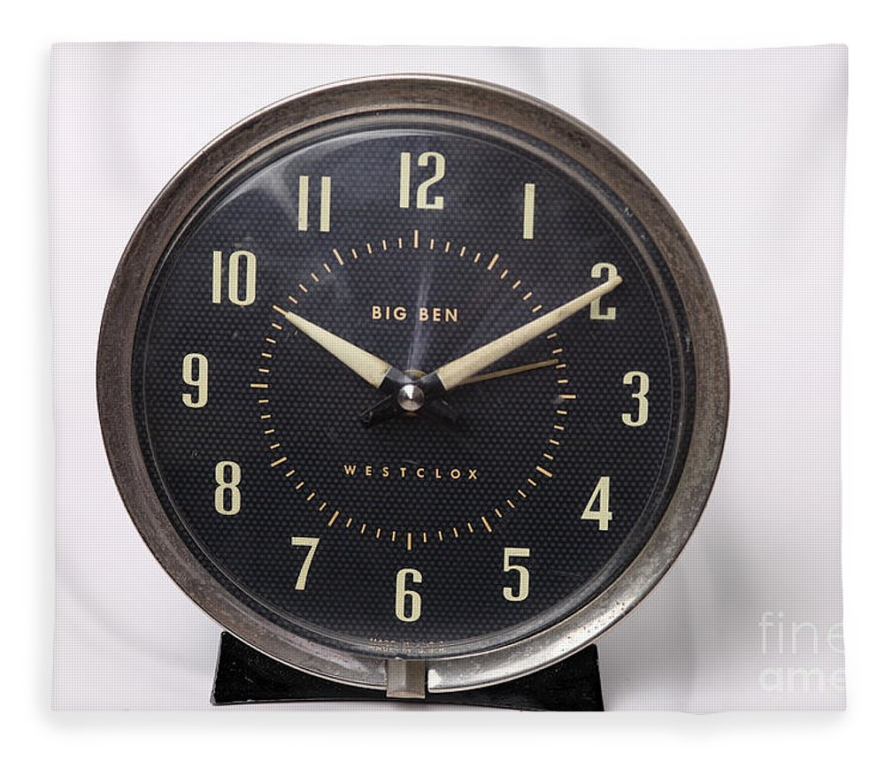 Radium Fleece Blanket featuring the photograph Radium Dial On Clock by Ted Kinsman