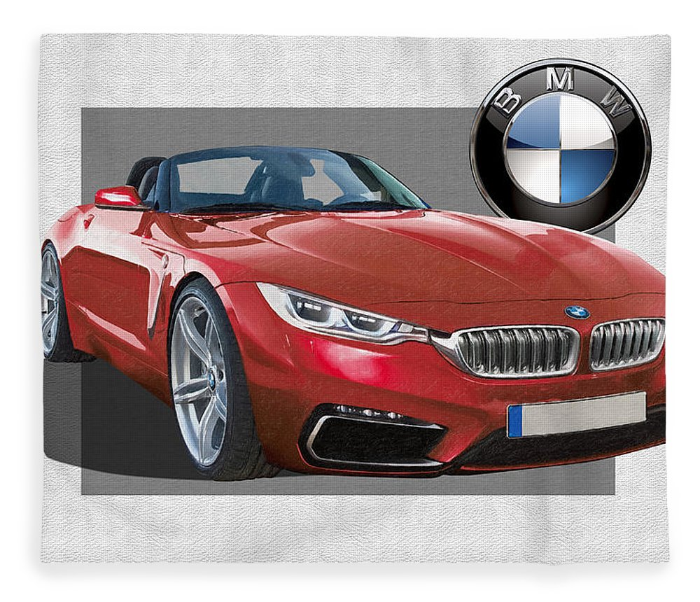 �bmw� Collection By Serge Averbukh Fleece Blanket featuring the photograph Red 2018 B M W Z 5 with 3 D Badge by Serge Averbukh