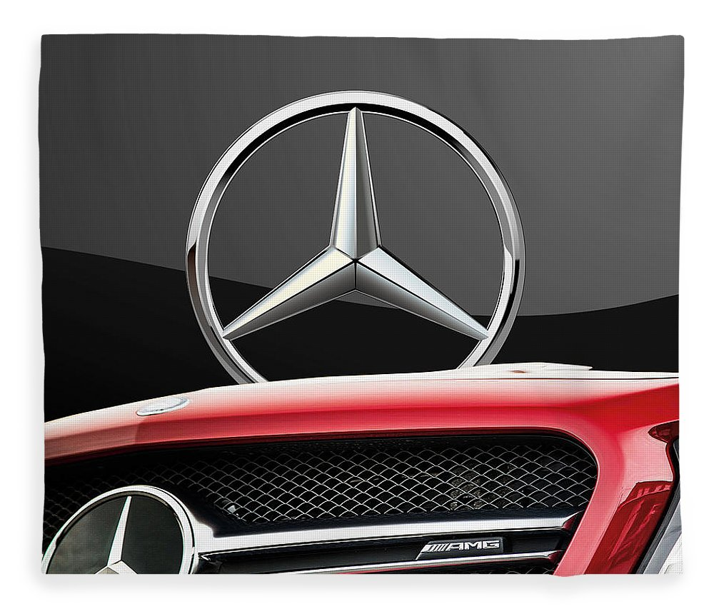 'auto Badges' By Serge Averbukh Fleece Blanket featuring the photograph Red Mercedes - Front Grill Ornament And 3 D Badge On Black by Serge Averbukh