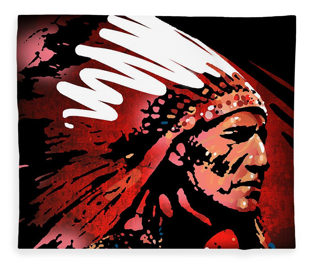 Native American Fleece Blanket featuring the painting Red Pipe by Paul Sachtleben