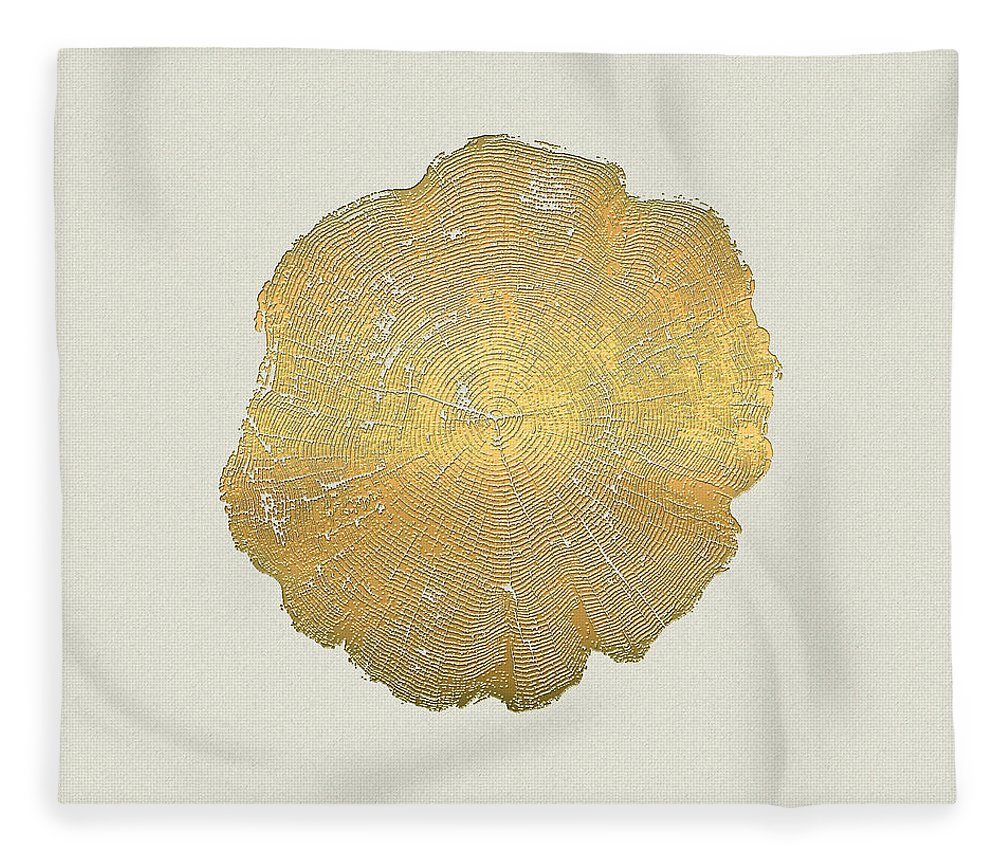 Inconsequential Beauty By Serge Averbukh Fleece Blanket featuring the photograph Rings of a Tree Trunk Cross-section in Gold on Linen by Serge Averbukh