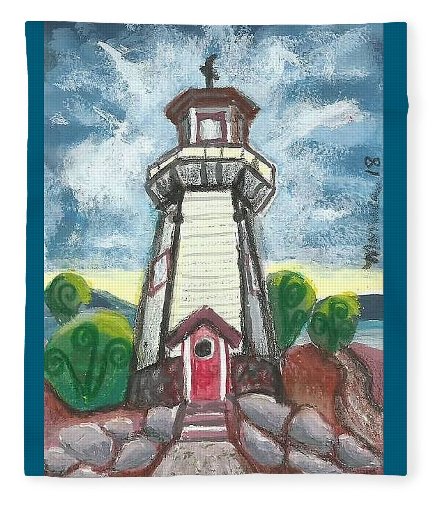 Lighthouse Fleece Blanket featuring the painting River Rouge Memorial Lighthouse by Monica Resinger
