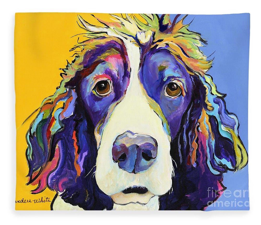 Blue Fleece Blanket featuring the painting Sadie by Pat Saunders-White