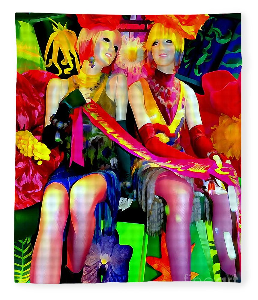 Mannequins Fleece Blanket featuring the digital art Sassy Sisters by Ed Weidman