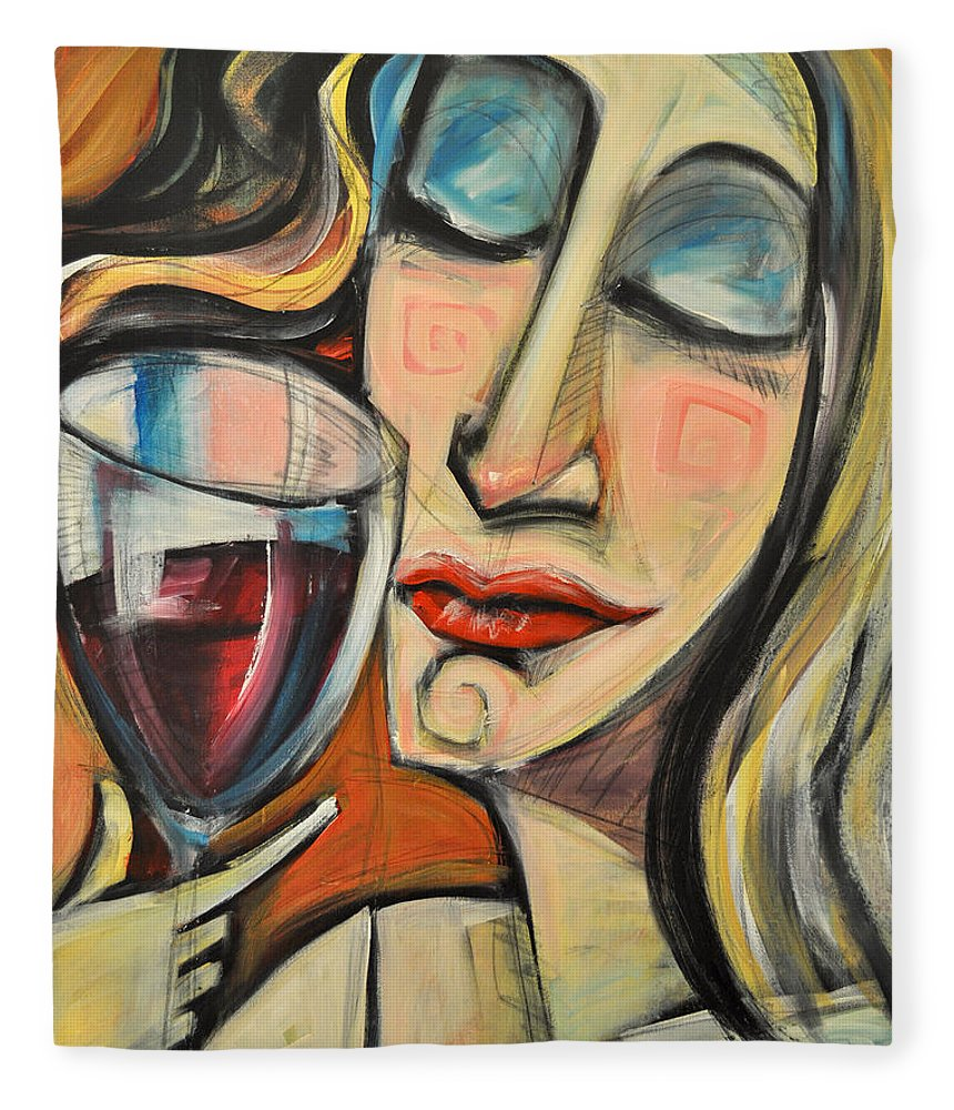 Wine Fleece Blanket featuring the painting Savoring The First Sip by Tim Nyberg