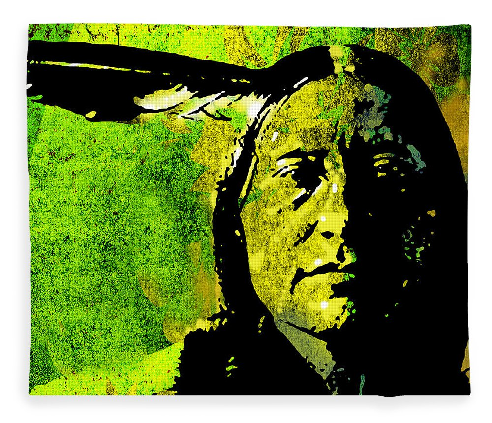 Native American Fleece Blanket featuring the painting Scabby Bull by Paul Sachtleben