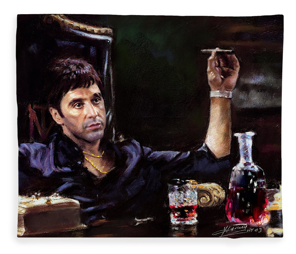 Al Pacino Fleece Blanket featuring the pastel Scarface by Ylli Haruni