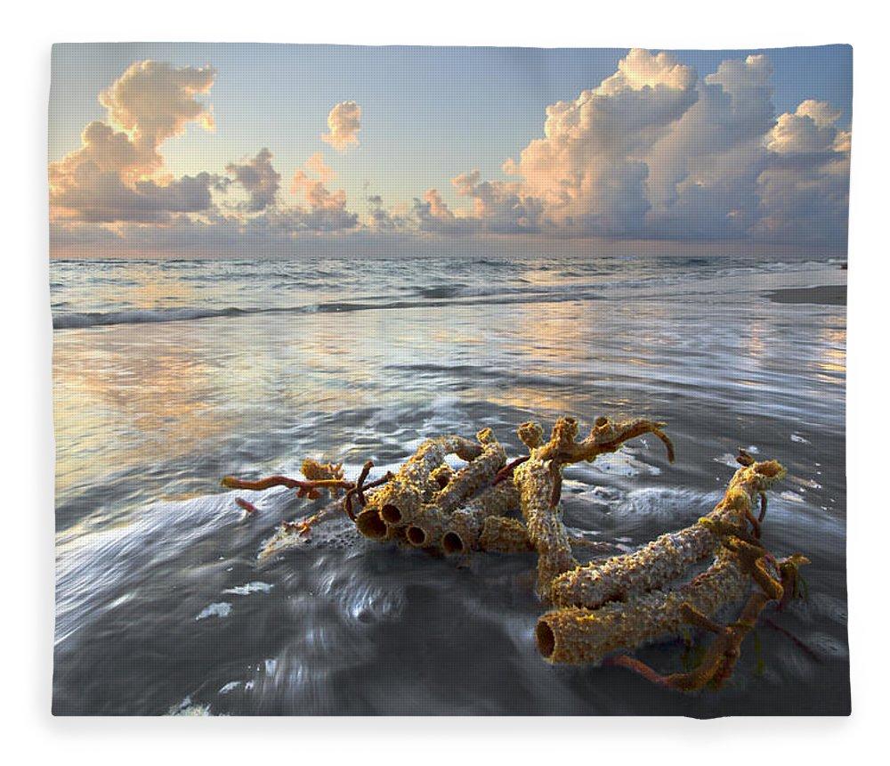 Clouds Fleece Blanket featuring the photograph Sea Jewel by Debra and Dave Vanderlaan