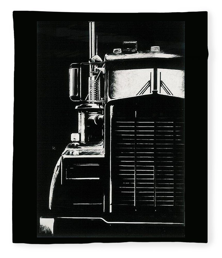 Vehicle Fleece Blanket featuring the drawing Semi by Barbara Keith