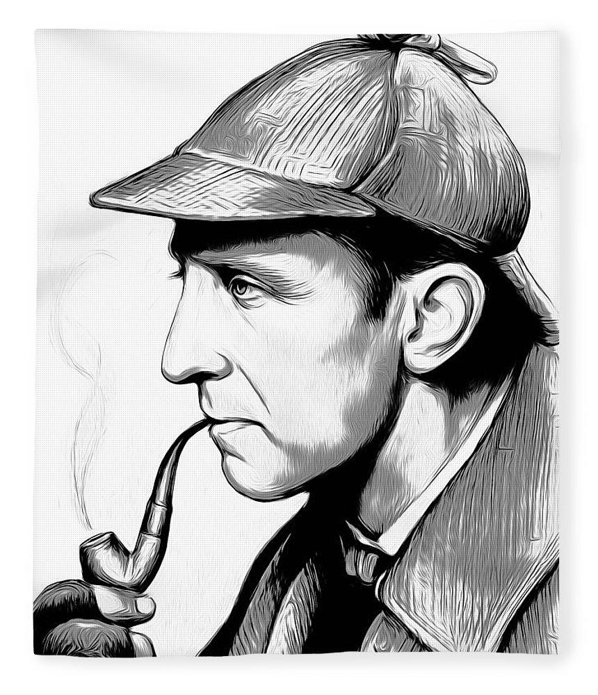 Sherlock Holmes Fleece Blanket featuring the digital art Sherlock Holmes by Greg Joens