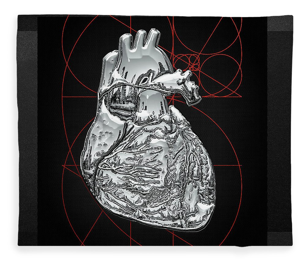 �inner Workings� Collection By Serge Averbukh Fleece Blanket featuring the photograph Silver Human Heart On Black Canvas by Serge Averbukh