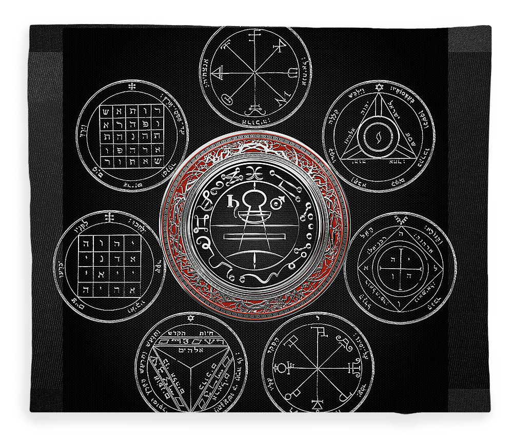 'sacred Symbols' Collection By Serge Averbukh Fleece Blanket featuring the photograph Silver Seal Of Solomon Over Seven Pentacles Of Saturn On Black Canvas by Serge Averbukh