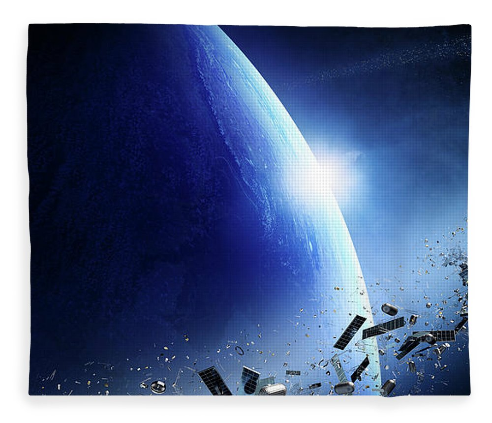 Earth Fleece Blanket featuring the photograph Space Junk Orbiting Earth by Johan Swanepoel