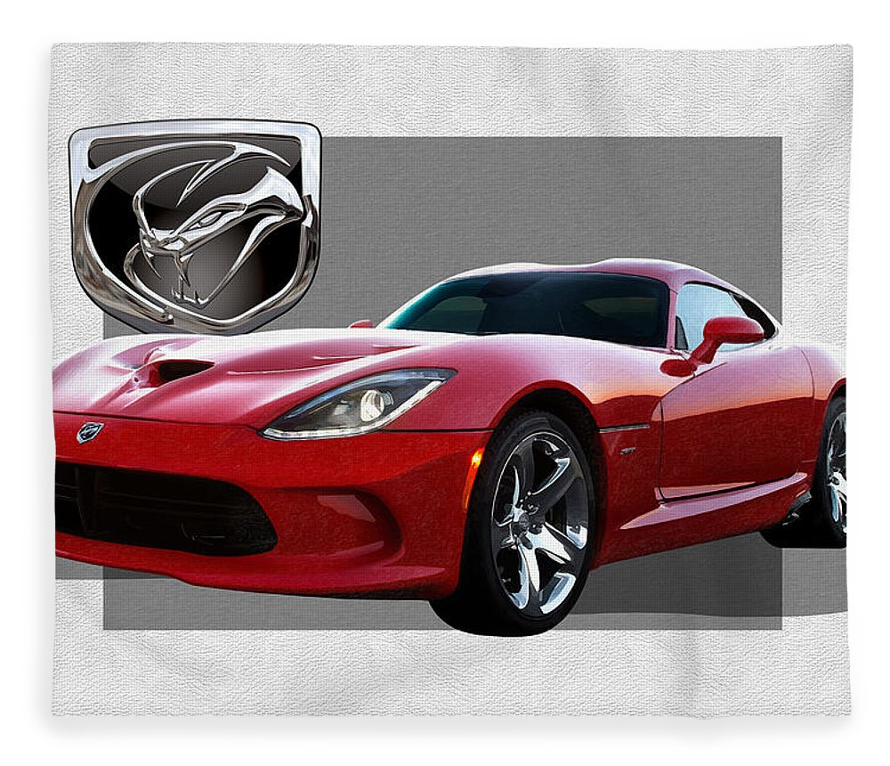 'dodge Viper' By Serge Averbukh Fleece Blanket featuring the photograph S R T Viper with 3 D Badge by Serge Averbukh