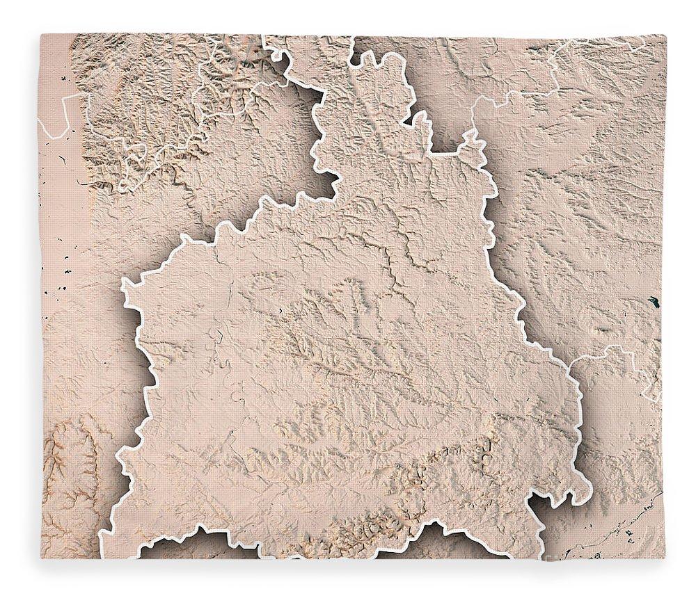 Stuttgart Fleece Blanket featuring the digital art Stuttgart Administrative Region Baden-wurttemberg 3d Render Top 1 by Frank Ramspott