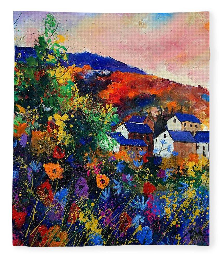 Landscape Fleece Blanket featuring the painting Summer by Pol Ledent