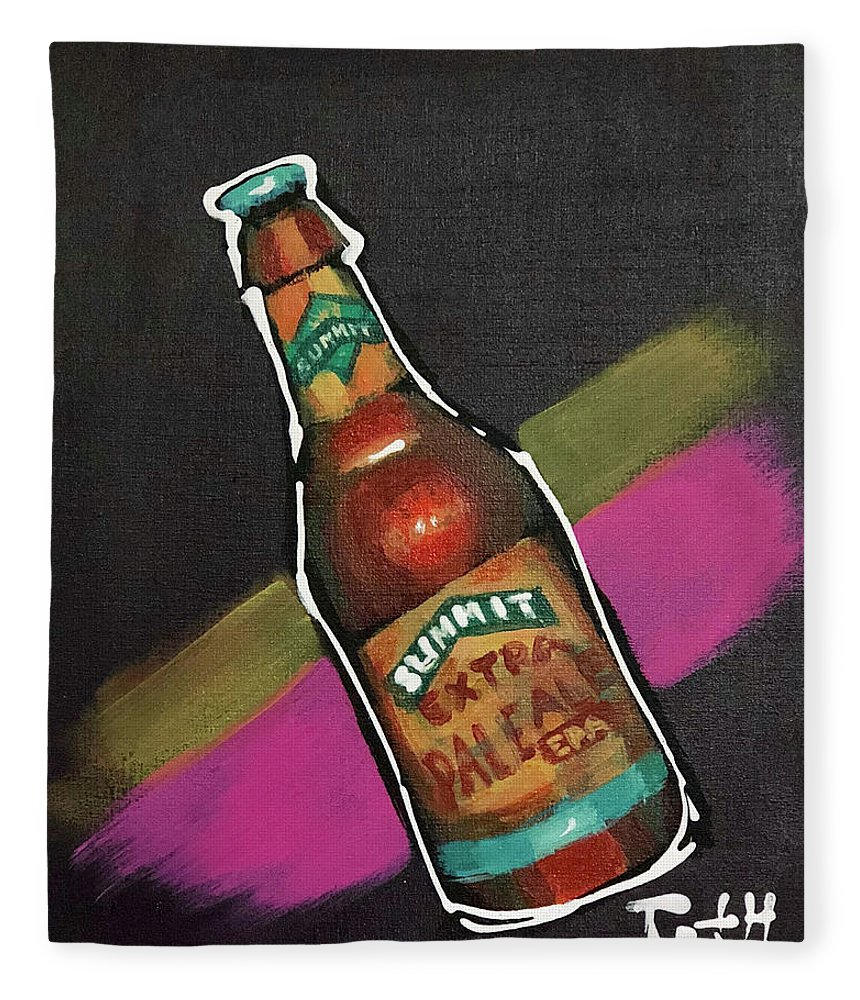 Summit Fleece Blanket featuring the painting Summit by Laura Toth