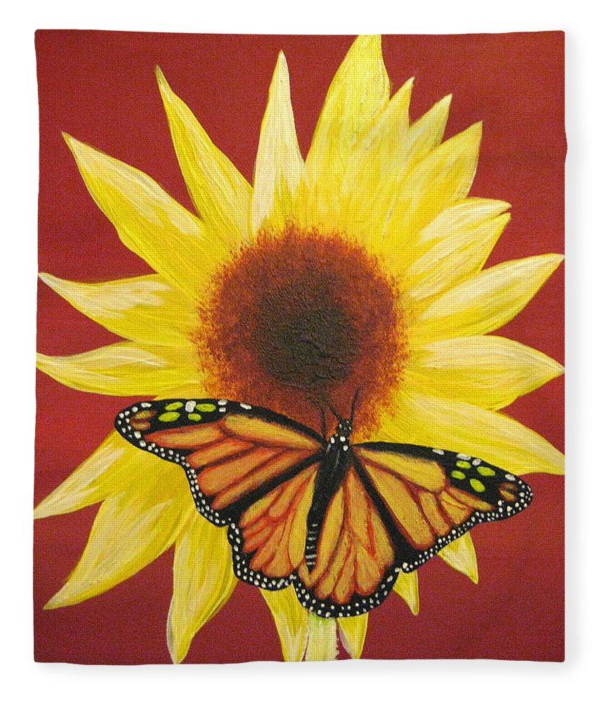 Sunflower Fleece Blanket featuring the painting Sunflower Monarch by Debbie Levene
