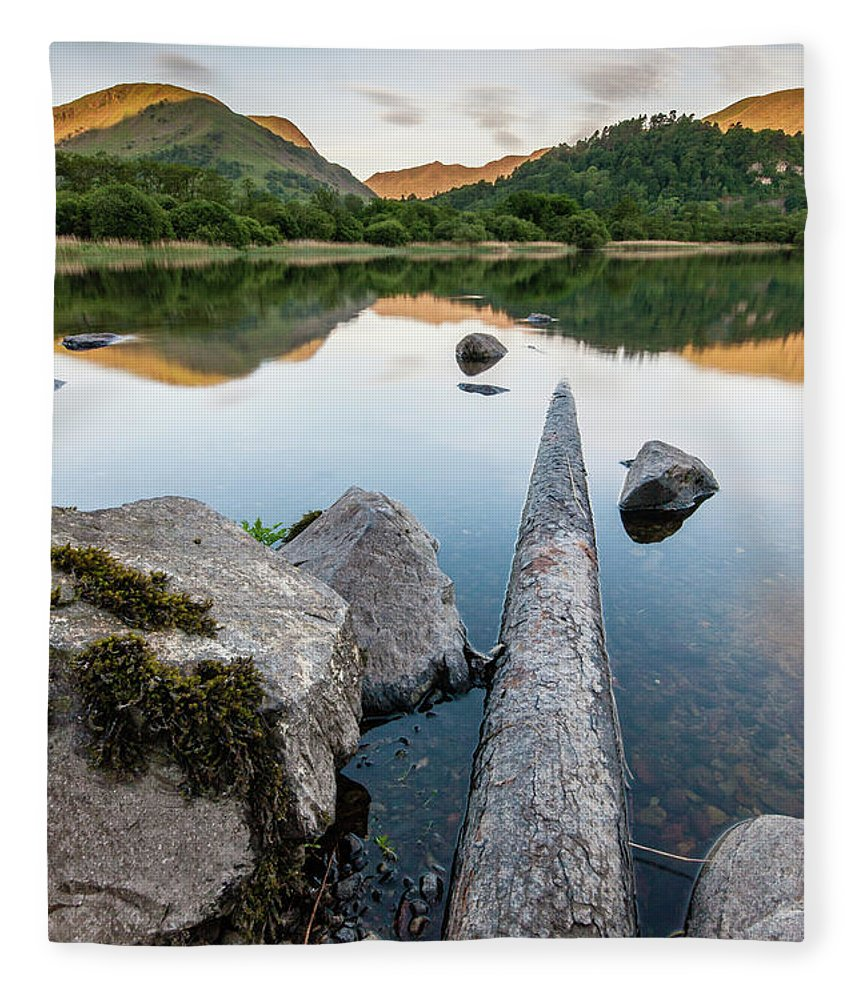 Landscape Fleece Blanket featuring the photograph Sunrise at Ullswater, Lake District, North West England by Anthony Lawlor