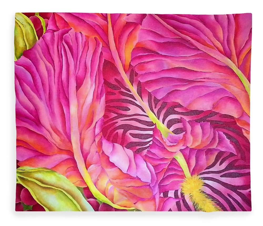 Orchid Fleece Blanket featuring the painting Thaumantias by Elizabeth Elequin