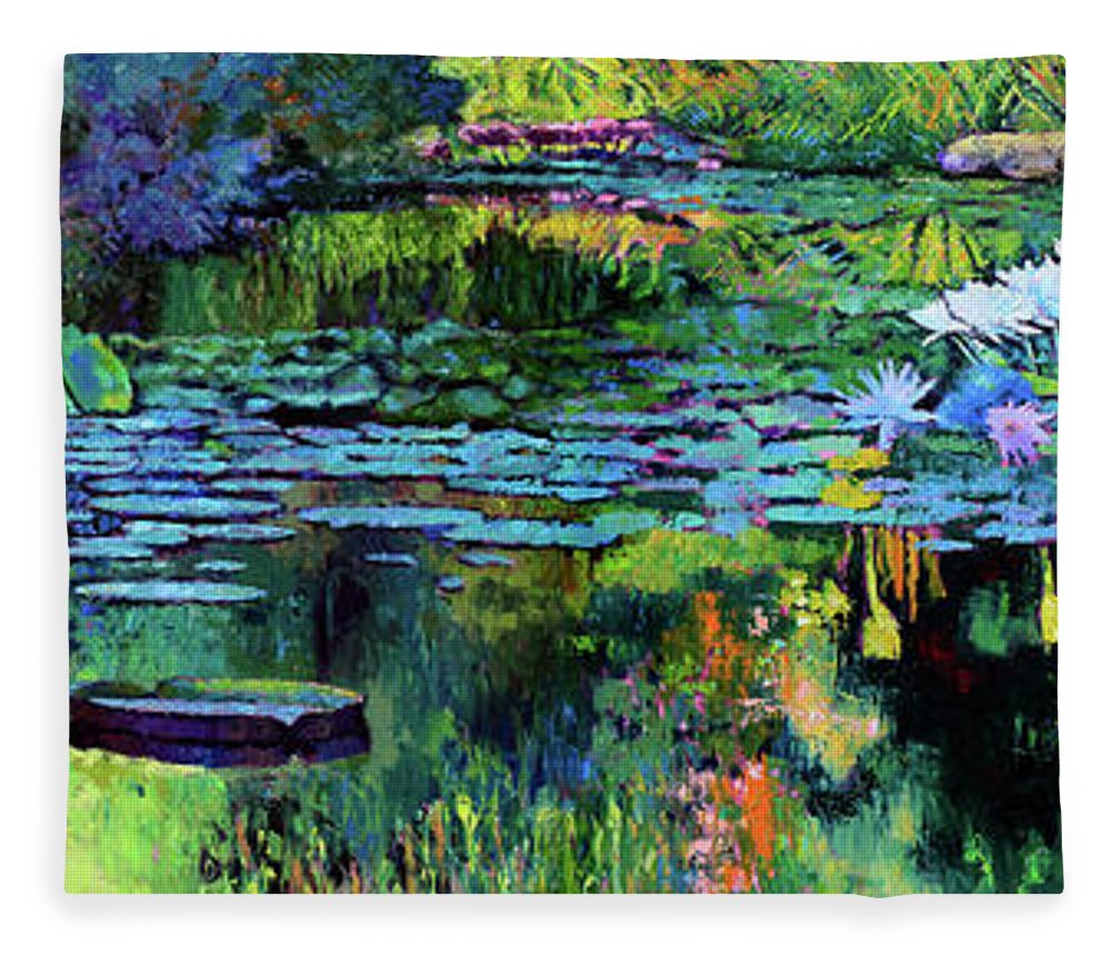 Garden Pond Fleece Blanket featuring the painting The Abstraction of Beauty by John Lautermilch