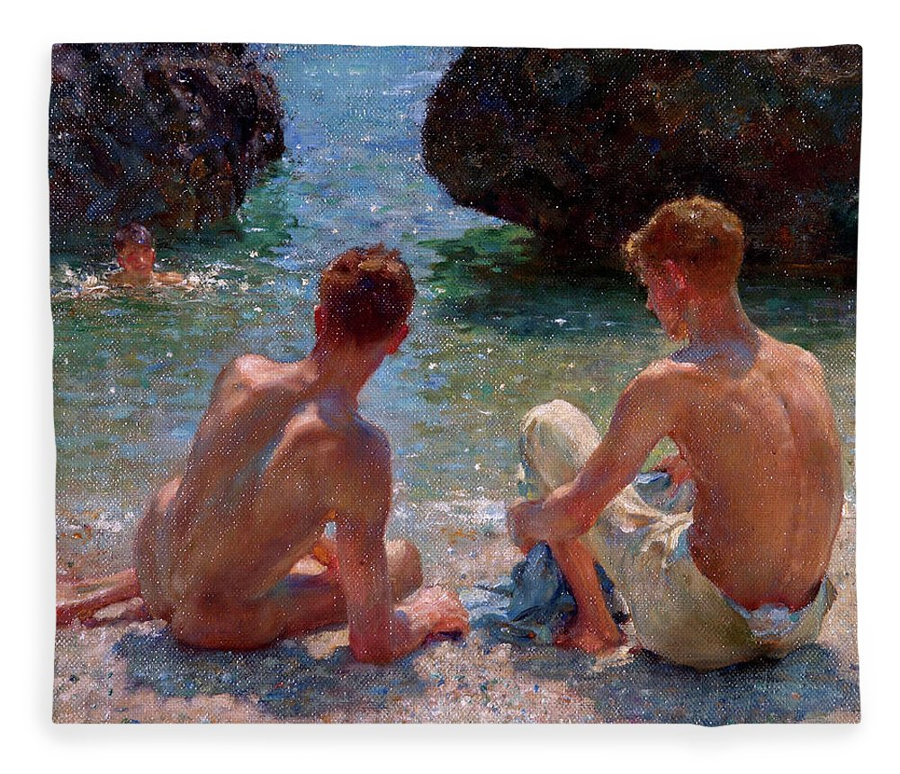 Nude Fleece Blanket featuring the painting The Critics by Henry Scott Tuke