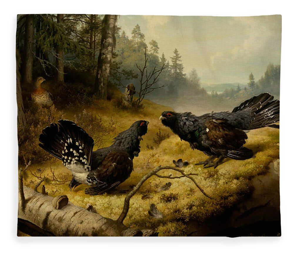 19th Century Art Fleece Blanket featuring the painting The Fighting Capercaillies by Ferdinand von Wright