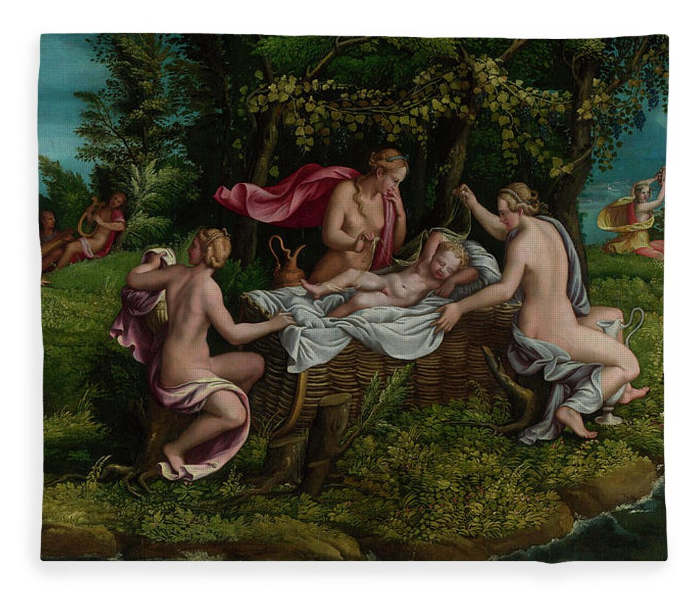People Fleece Blanket featuring the painting The Infancy Of Jupiter by Giulio Romano