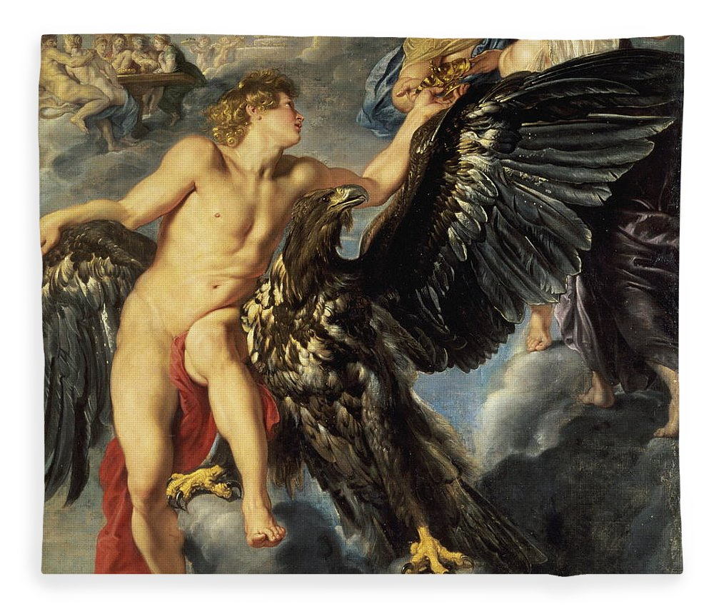Ufo Fleece Blanket featuring the painting The Kidnapping Of Ganymede by Peter Paul Rubens