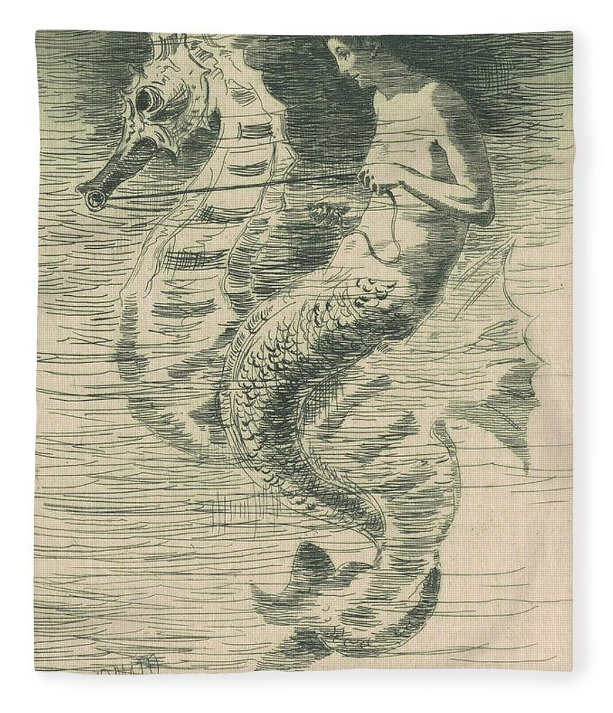 Mermaid Fleece Blanket featuring the drawing The Mermaid by Frederick Stuart Church
